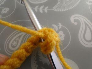 hook into second stitch of the row