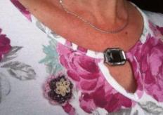 me wearing my brooch