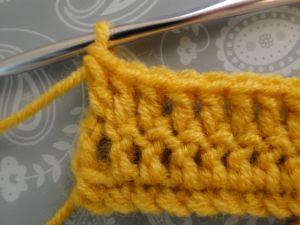 Rows of double crochet in yellow