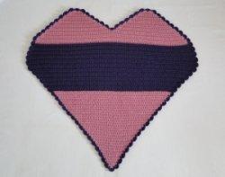 A heart-shaped crochet blanket