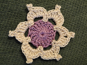Picot decorated flower in two colors