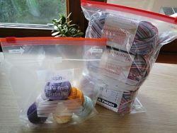 balls of yarn in freezer bags