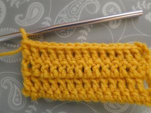 even rows of double crochet