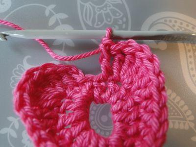 a double crochet then 2 chain