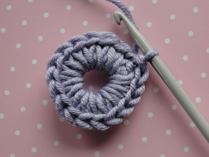 Round 2 finished with stitches worked over previous round.