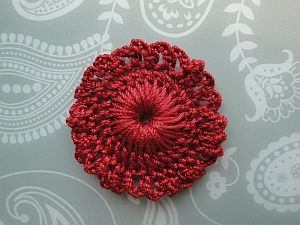 Red lacy flower.