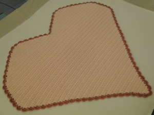 Side view of the crocheted blanket.