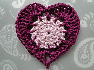 Classic Heart with light pink middle and purple edging