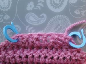 Two stitch markers in place