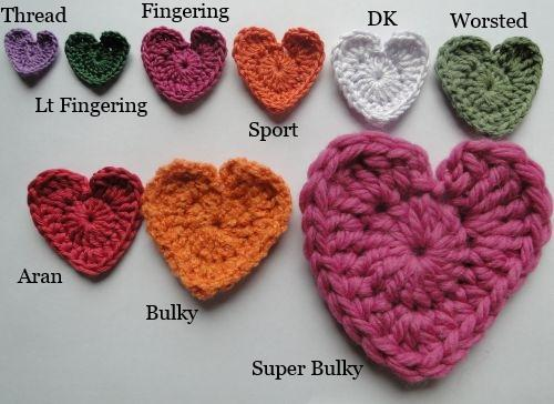 crocheted hearts in a variety of yarn weights
