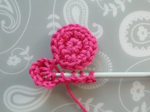 Pulling hook through loops for petal