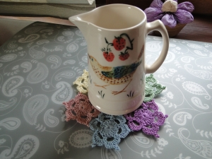 a pretty mat with jug on top