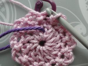 Dark purple thread marks where the hook goes next!