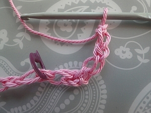Stitch marker showing placement of next stitch