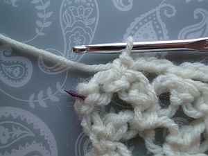 An extra stitch at the end, stitch marked