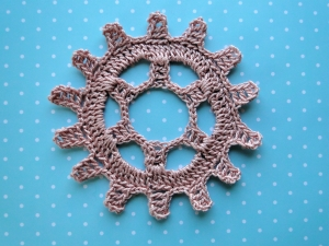 Crocheted steampunk gear