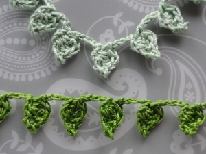 Green leafy crochet braids