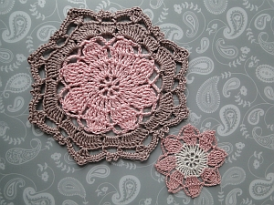 Pink and beige octagon, next to the original thread flower
