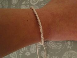 simple chain stitch bracelet on my wrist