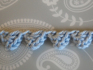 baby blue braid with larger stitiches