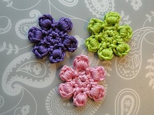 Purple, pink and green bullion flowers