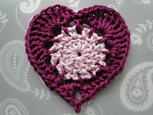 Two color crochet heart - light pink inside, dark pink edging
