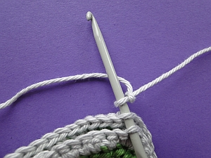Hook into outside loops of stitches at corner