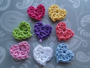 Tiny hearts in different colors