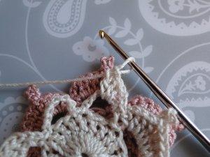 preparing to slip stitch into a picot