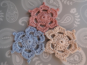 pretty completed 3 motifs joined together in pink, white and blue