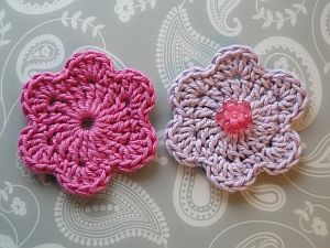 6 petal crochet flowers in pink and lilac