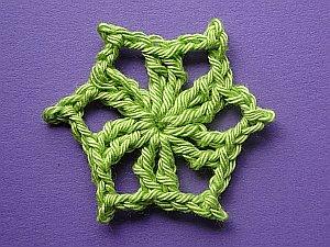 Green crochet hexagon wheel