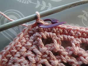 Stitch marker showing where to join in at end of round